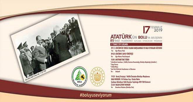 Atatürk'ün Bolu'ya gelişinin 85'nci yıl dönümünü büyük bir coşkuyla kutluyoruz