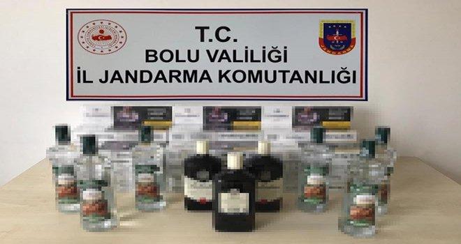 Bolu'da kaçak sigara, içki ve uyuşturucu operasyonu...